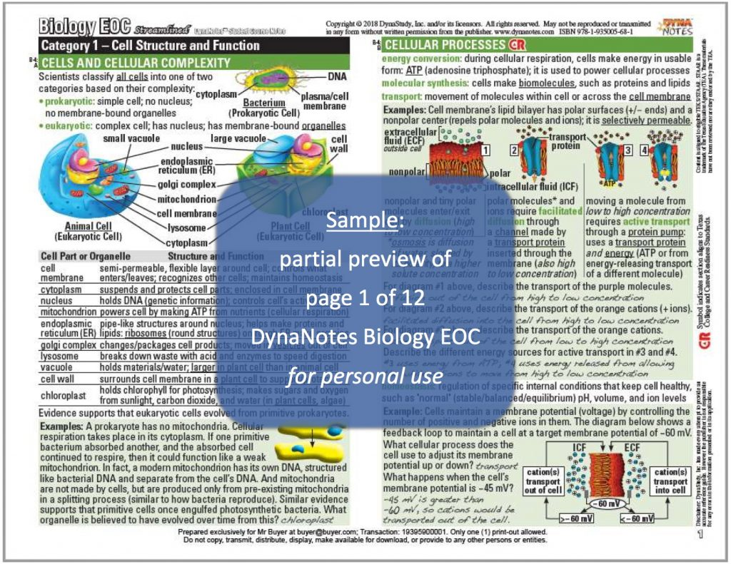 DynaNotes Biology EOC Student Course Notes