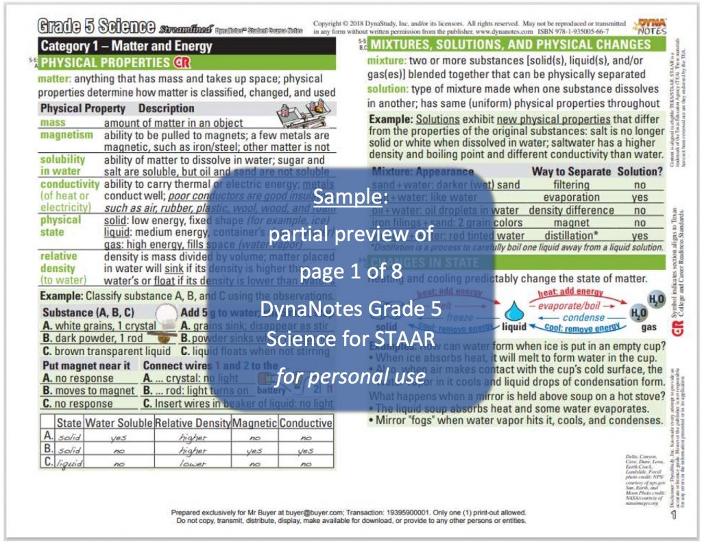 DynaNotes Grade 5 Science for STAAR Sample